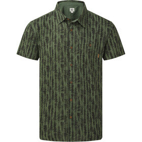 tentree Hemp SS Button-Up Shirt Herre forest green/tree stripe all over print